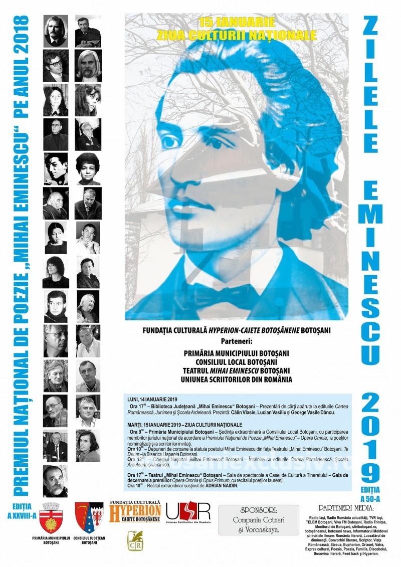 """Ziua Culturii Naționale – Premiul Național de Poezie """"Mihai Eminescu"""", ediția a XXVIII-a: Programul manifestărilor"""