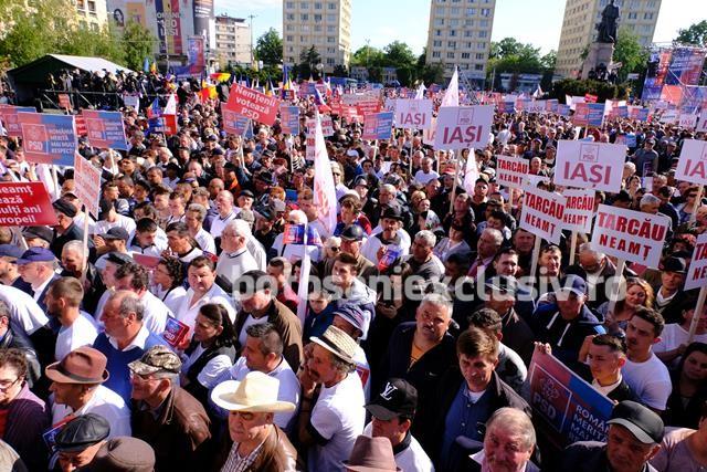 Miting cu peste 40.000 de PSD-iști prezenți în capitala Moldovei  -VIDEO/FOTO