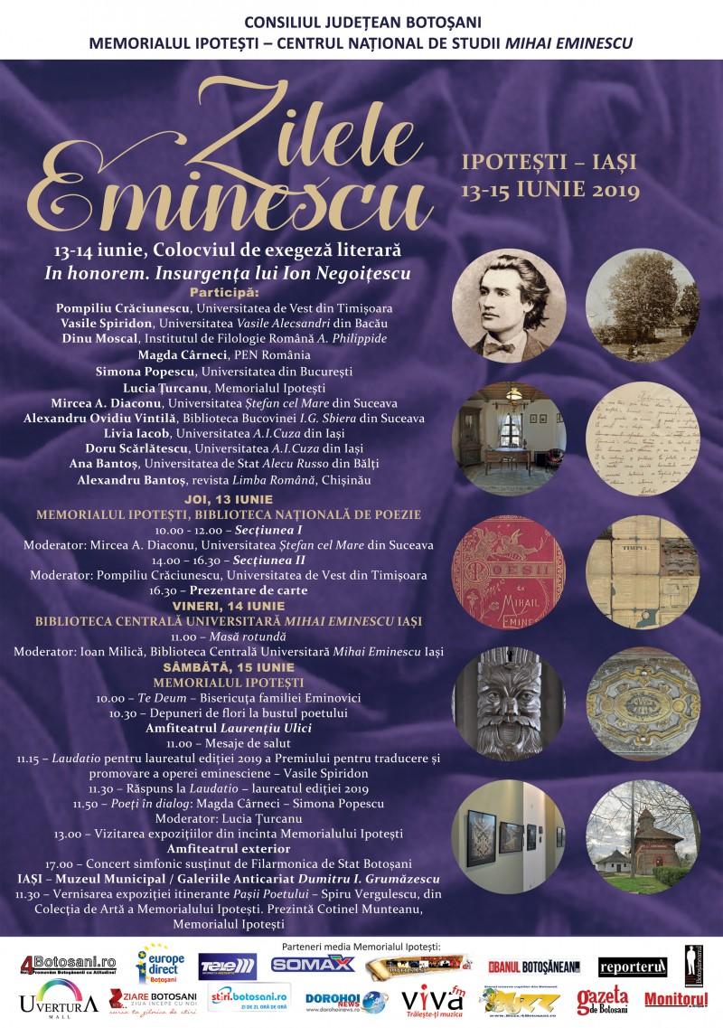 Zilele Eminescu, ediția iunie 2019, la Memorialul Ipotești – PROGRAMUL manifestărilor