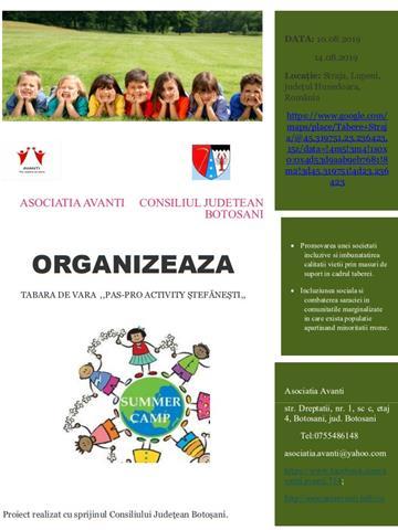,,PAS-PRO ACTIVITY STEFANESTI,, proiect finantat cu sprijinul CONSILIULUI JUDETEAN BOTOSANI