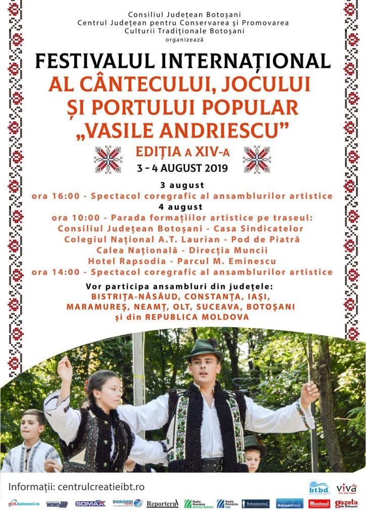 """Festivalul International al Cantecului, Jocului si Portului Popular  """"Vasile Andriescu"""" si Festivalul fanfarelor la Botosani"""
