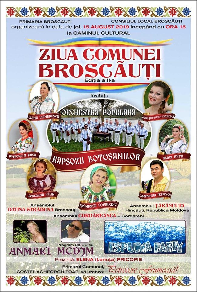 Ziua comunei Broscauti a ajuns la a II -a ediţie. VEZI ce soliști vor evolua la sărbătoarea comunei