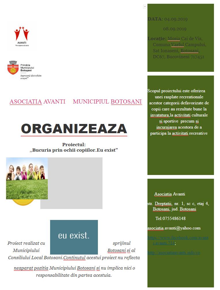 ,,BUCURIA PRIN OCHII COPIILOR. EU EIXST,, –  un proiect derulat de ASOCIATIA AVANTI