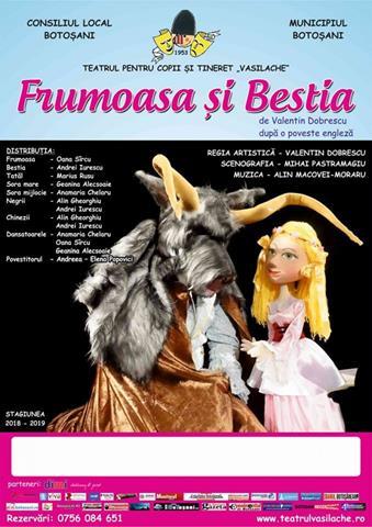 """Teatrul """"Vasilache"""" vă invită să vizionaţi spectacolul """"Frumoasa şi Bestia"""""""