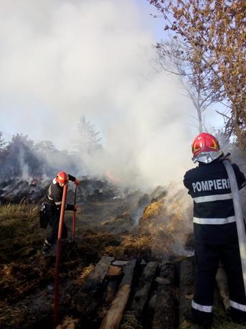 Intervenție dificilă a pompierilor pentru stingerea unui incendiu la un depozit de furaje