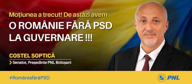 """SENATOR PNL COSTEL SOPTICA:  """"PSD pierdut puterea.  Trebuie sa indreptam toate nelegiurile produse in timp de guvernarea ticaloasa a PSD"""