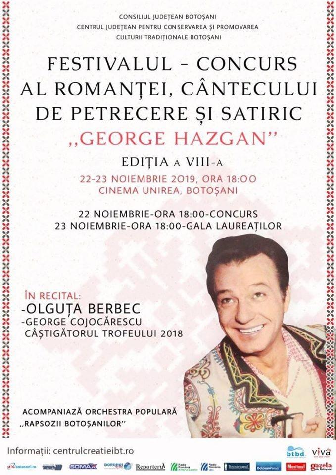 """Festivalul-concurs al romanţei, cântecului de petrecere şi satiric """"George Hazgan"""""""