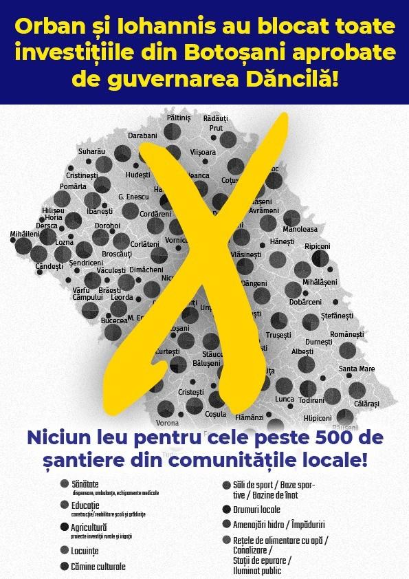 Orban și Iohannis au blocat toate investițiile din Botoșani aprobate de guvernarea Dăncilă! Niciun leu pentru cele peste 500 de șantiere din comunitățile locale!