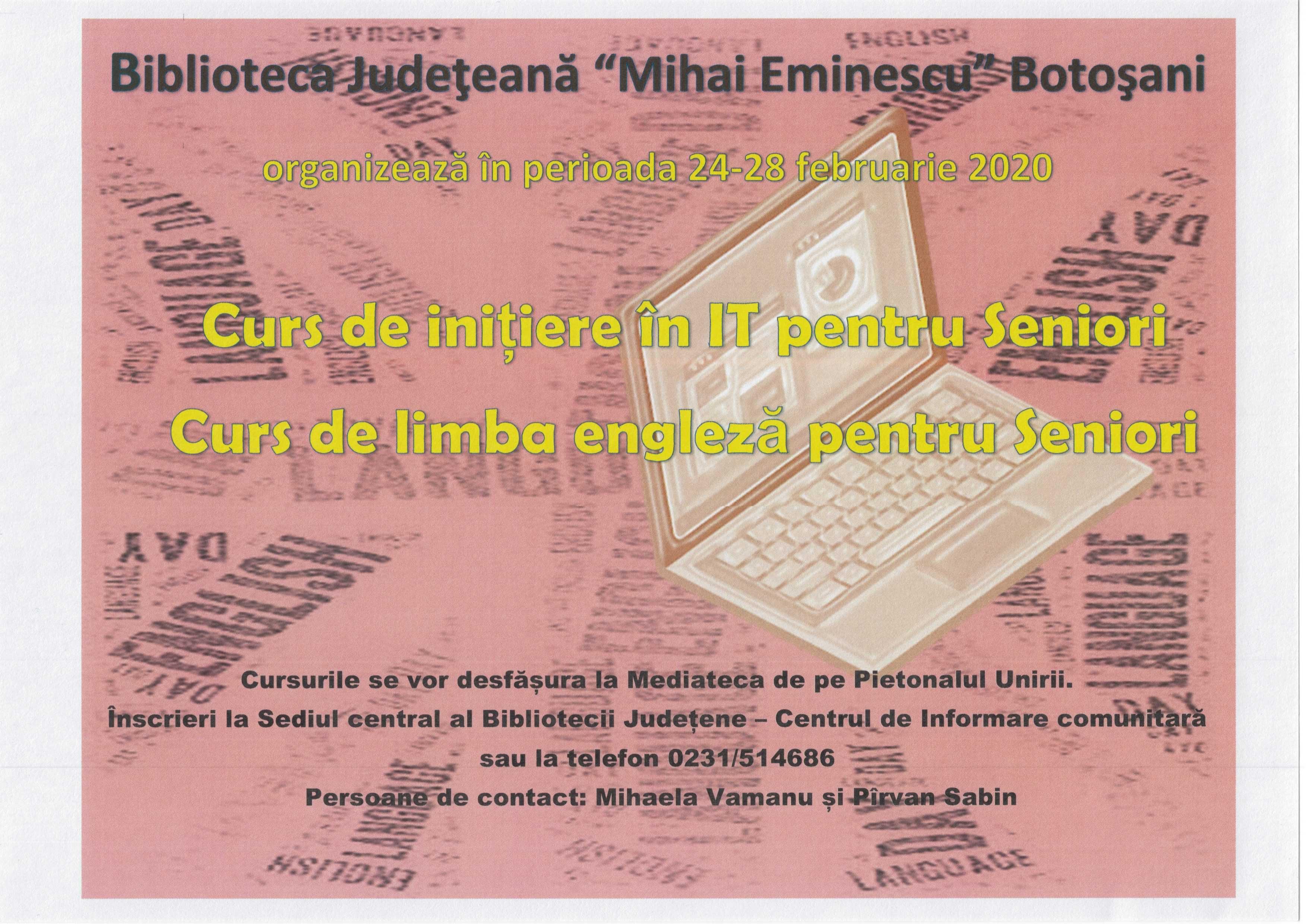 """Cursuri de IT și engleză pentru seniori, 24 – 28 februarie 2020, la Biblioteca Județeană """"Mihai Eminescu"""""""