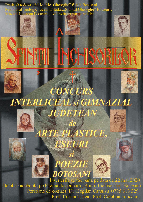 """CONCURS DE ARTE PLASTICE """"SFINȚII ÎNCHISORILOR"""", EDIȚIA a IV-a, BOTOȘANI, 2020"""
