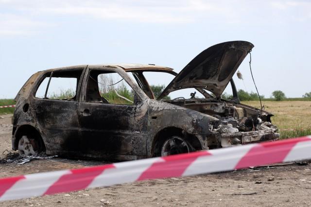 Mașină în flăcări pe raza comunei Brăești