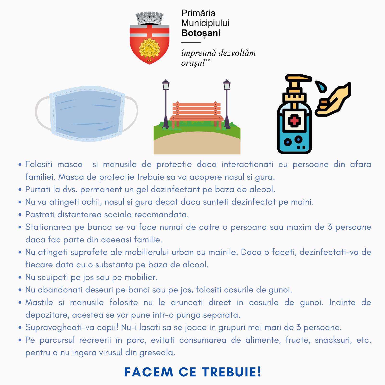 Ieșire graduală, treptată, din starea de urgență, în municipiul Botoșani
