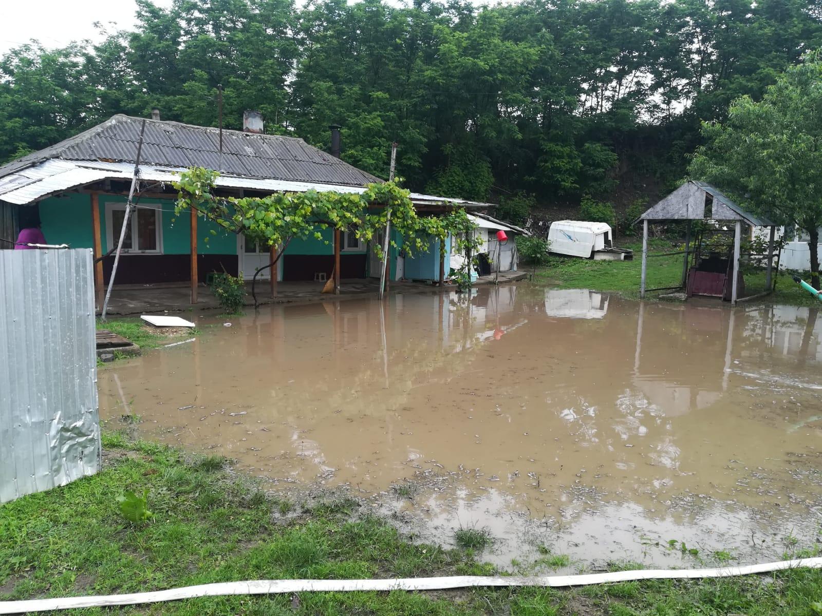 FOTO / Gospodării inundate în urma ploilor din această după – amiază