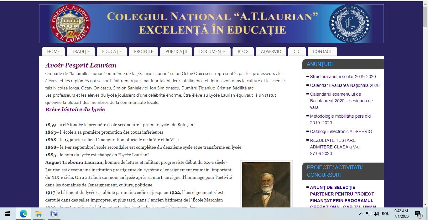 Un profil special dedicat franco-fanilor la Colegiul Laurian