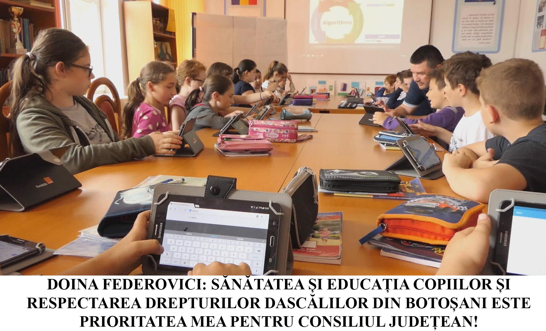"""Doina Federovici: """"Profesorii și elevii din Botoșani au fost prea mult ignorați și jigniți de Guvernul Orban! Respectarea drepturilor și sănătății acestora este prioritatea mea la Consiliul Județean"""""""