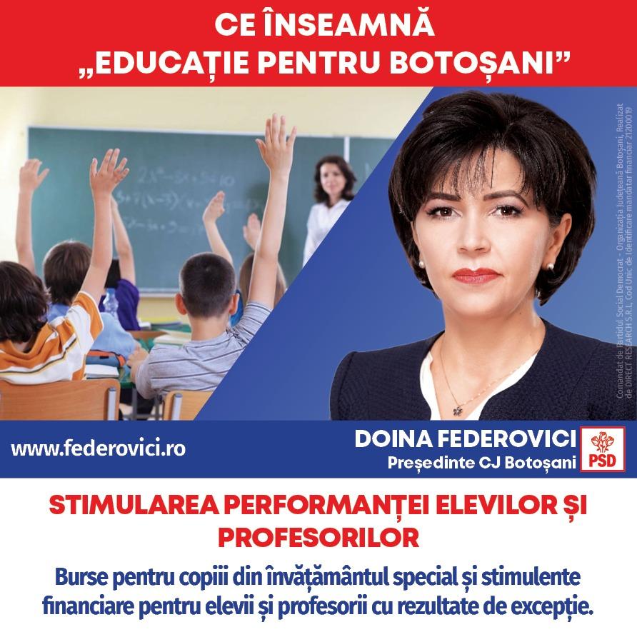 """(P)  Doina Federovici: """"Bursele suplimentare pentru copiii din învățământul special și stimulentele pentru elevii și profesorii cu performanțe deosebite sunt prioritățile mele"""""""
