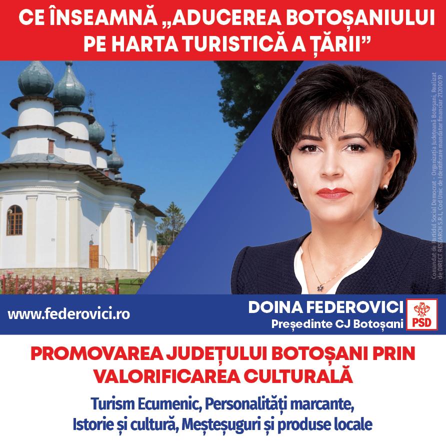 (P)  Doina Federovici: La Consiliul Județean voi repune Botoșaniul pe harta turistică a României prin valorificarea turismului cultural, ecumenic și al tradițiilor meșteșugărești