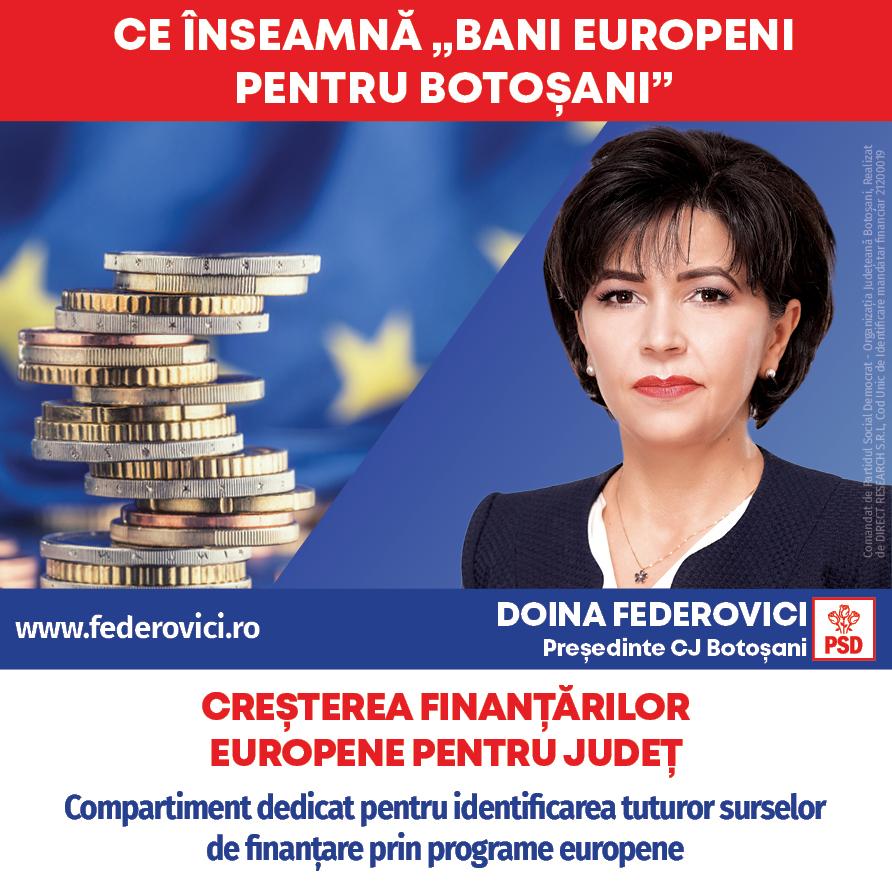 """(P)  Federovici: """"Voi aduce bani europeni pentru dezvoltarea județului Botoșani prin toate programele, inclusiv prin mecanismul ITI – Țara de Sus, Investiții Teritoriale Integrate"""""""