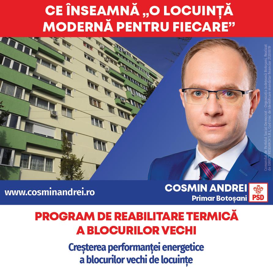 """(P)  Cosmin Andrei: """"O locuință modernă pentru fiecare botoșănean: apartamente ANL și terenuri pentru tineri, locuințe pentru specialiști, blocuri izolate termic"""""""