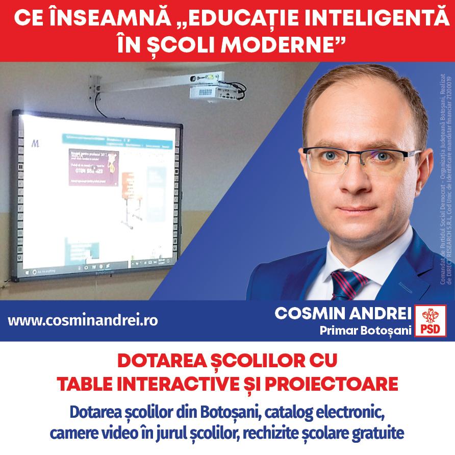 """(P)  Cosmin Andrei: """"Elevii și profesorii din Botoșani merită mai mult! Avem nevoie de Programul Educație Inteligentă în Școli Moderne"""""""