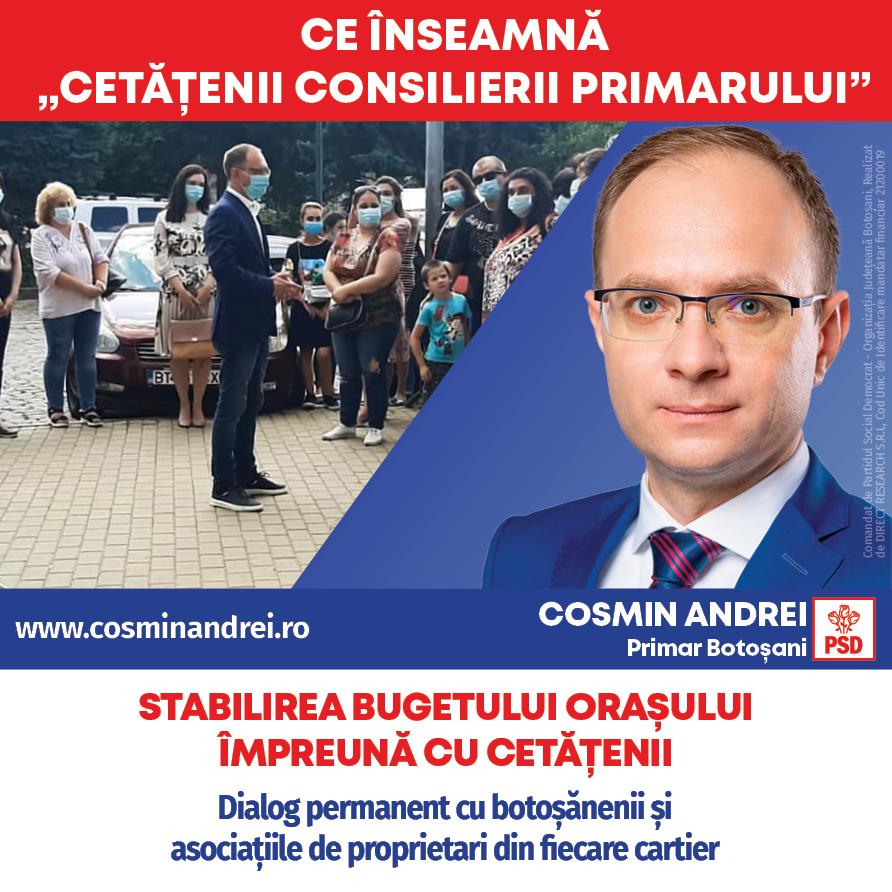"""(P)  Cosmin Andrei: """"Cel mai bun consilier al unui primar este cetățeanul. Bugetul de investiții al orașului îl voi stabili în fiecare an cu botoșănenii!"""""""