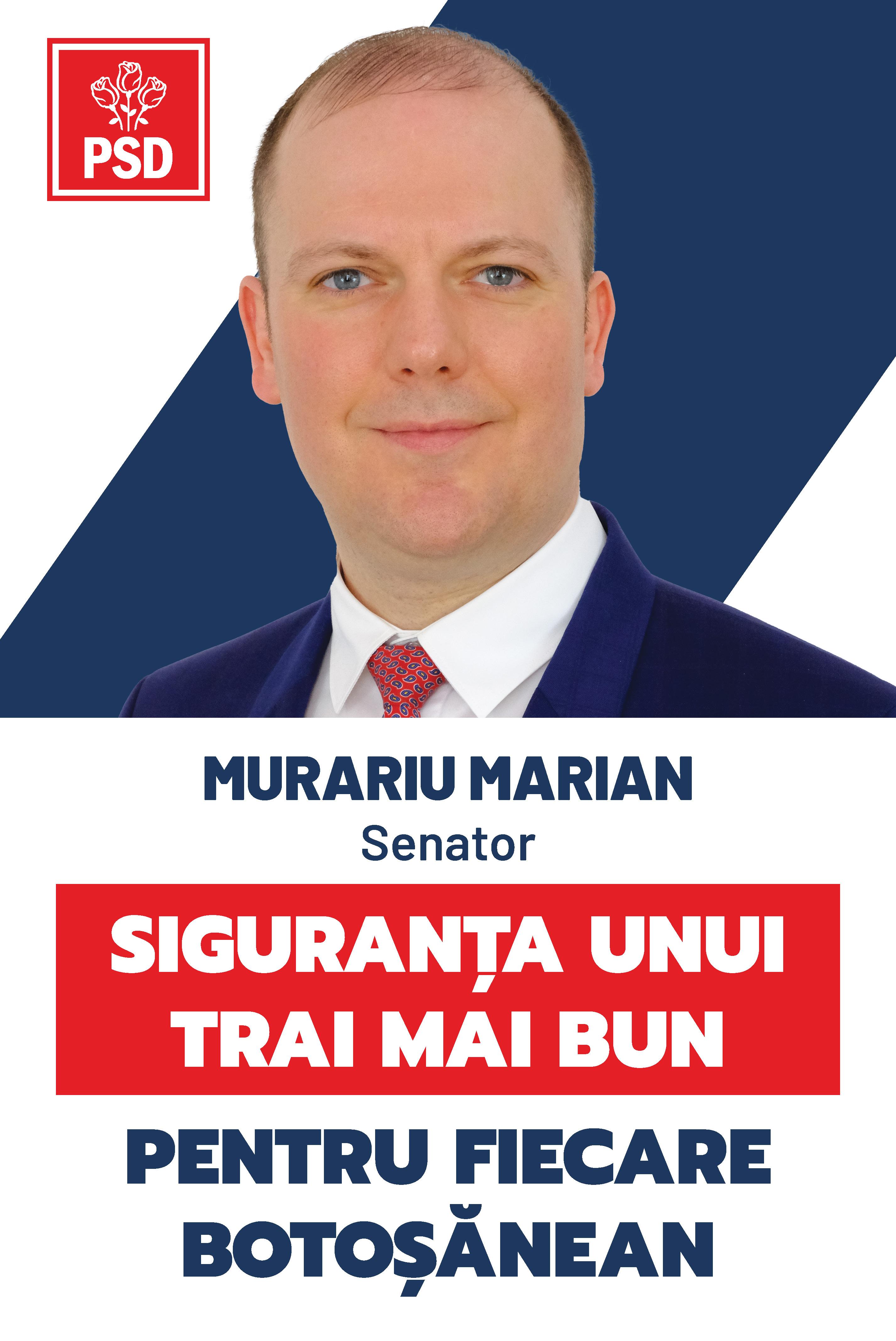 """(P)  Marian Murariu, candidat PSD pentru Senat: """"PSD va înființa Fondul Național de Dezvoltare Locală pentru investiții în mobilitatea și regenerarea orașelor și comunelor"""""""