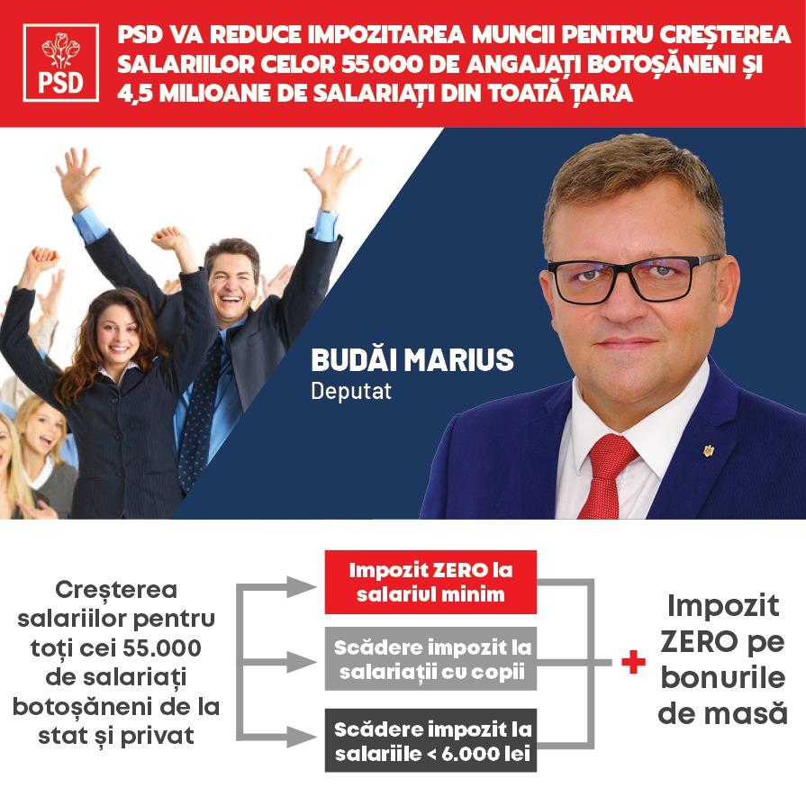 """(P)  Marius Budăi: """"Guvernarea PSD va reduce impozitarea muncii pentru creșterea salariilor celor 55.000 de angajați botoșăneni și 4,5 milioane de salariați din toată țara!"""""""