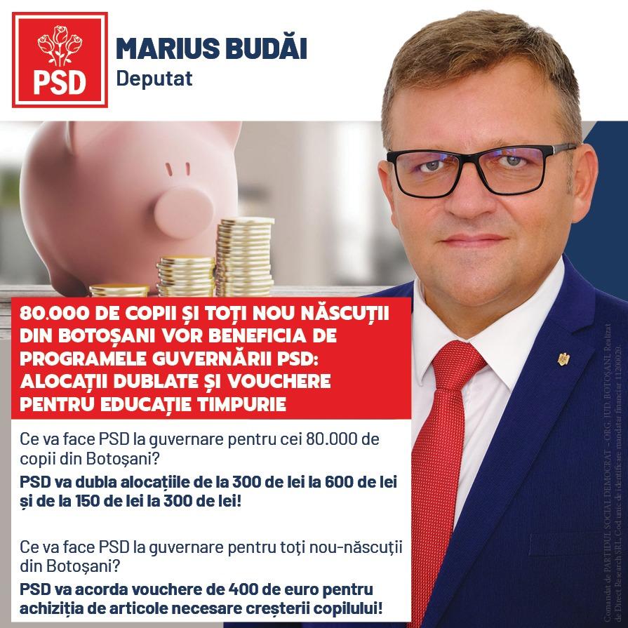 """(P)  Marius Budăi, deputat PSD: """"80.000 de copii și toți nou născuți din Botoșani vor beneficia de programele guvernării PSD: alocații dublate și vouchere pentru educație"""""""