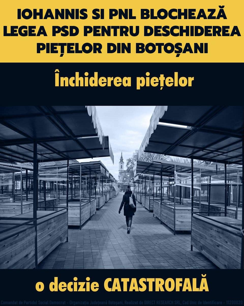 (P)  Iohannis și liberalii blochează legea PSD pentru deschiderea piețelor și amendează Primăria Botoșani pentru că este alături de fermierii botoșăneni