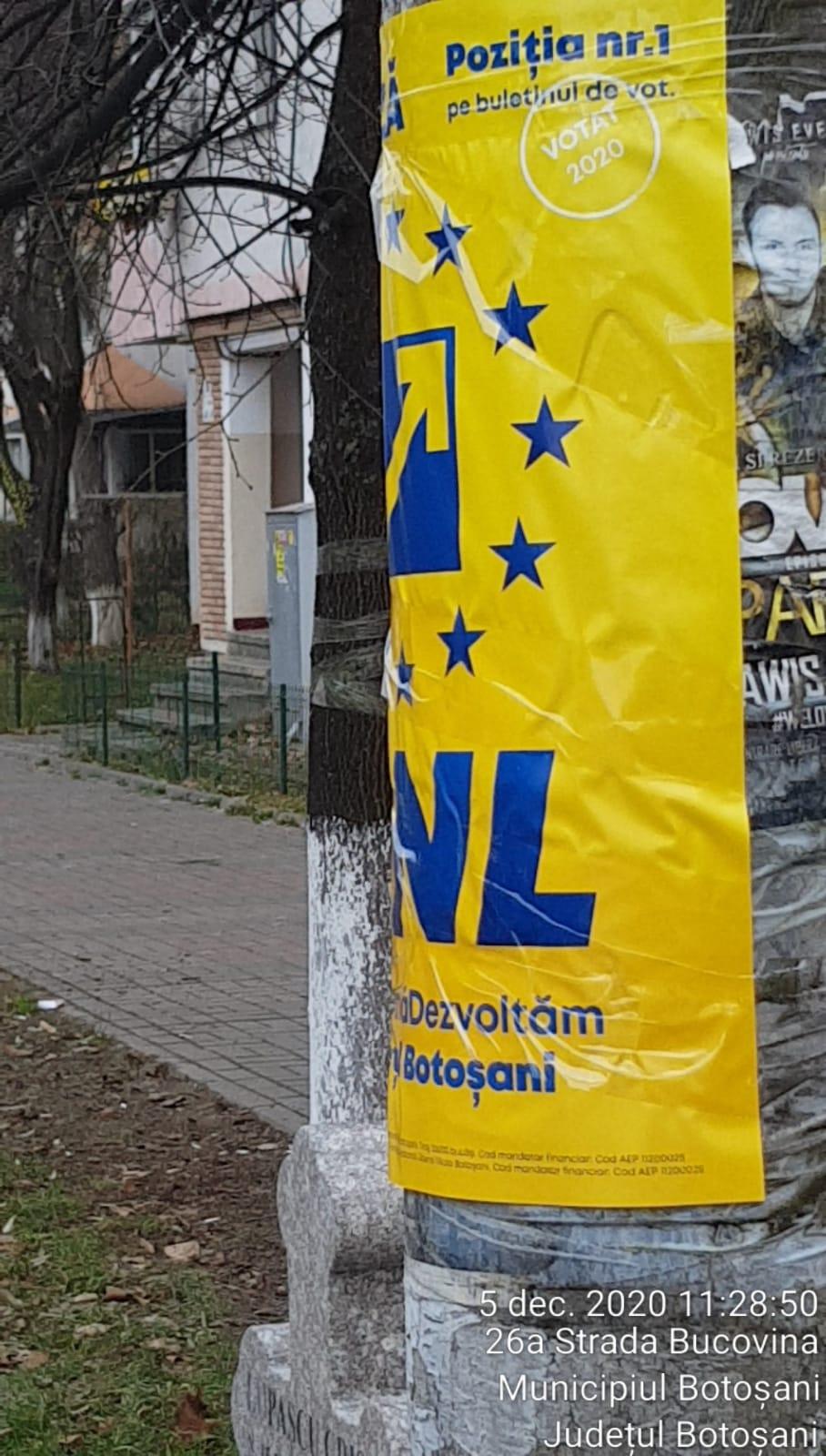 (CP)  Reprezentanții locali ai actualului Guvern, în lipsa dialogului cu botoșănenii au îngălbenit stâlpii din jurul secțiilor de votare cu afișe amplasate ilegal