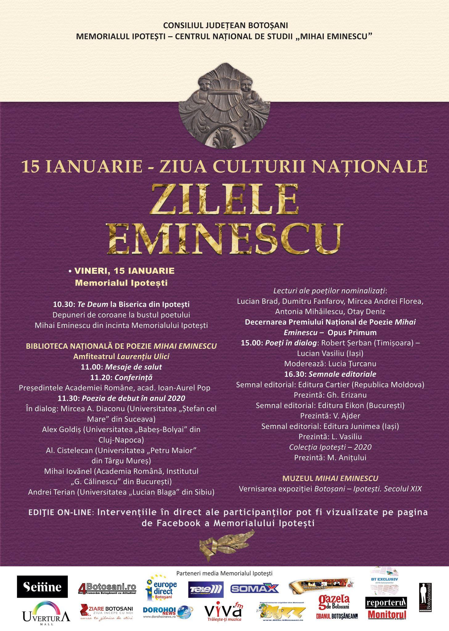 """Memorialul Ipotești – Centrul Național de Studii """"Mihai Eminescu"""" organizează ediția din ianuarie a Zilelor Eminescu"""