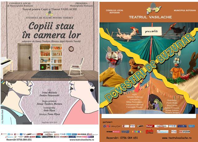 """Teatrul pentru Copii şi Tineret """"Vasilache""""  va invită la două spectacole dedicate atât celor mici – """"Povestiri de buzunar"""", cât şi tinerilor – """"Copiii stau în camera lor"""""""