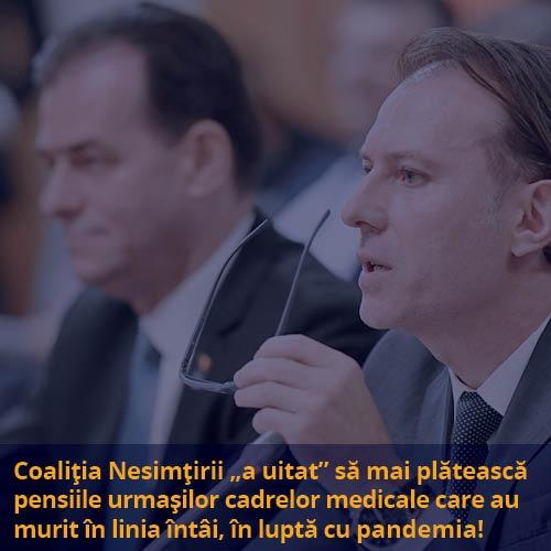 Coaliția Nesimțirii Naționale refuză acordarea pensiei celor 133 de urmași ai medicilor și asistenților decedați în linia întâi în lupta cu pandemia! 6 sunt din Botoșani!