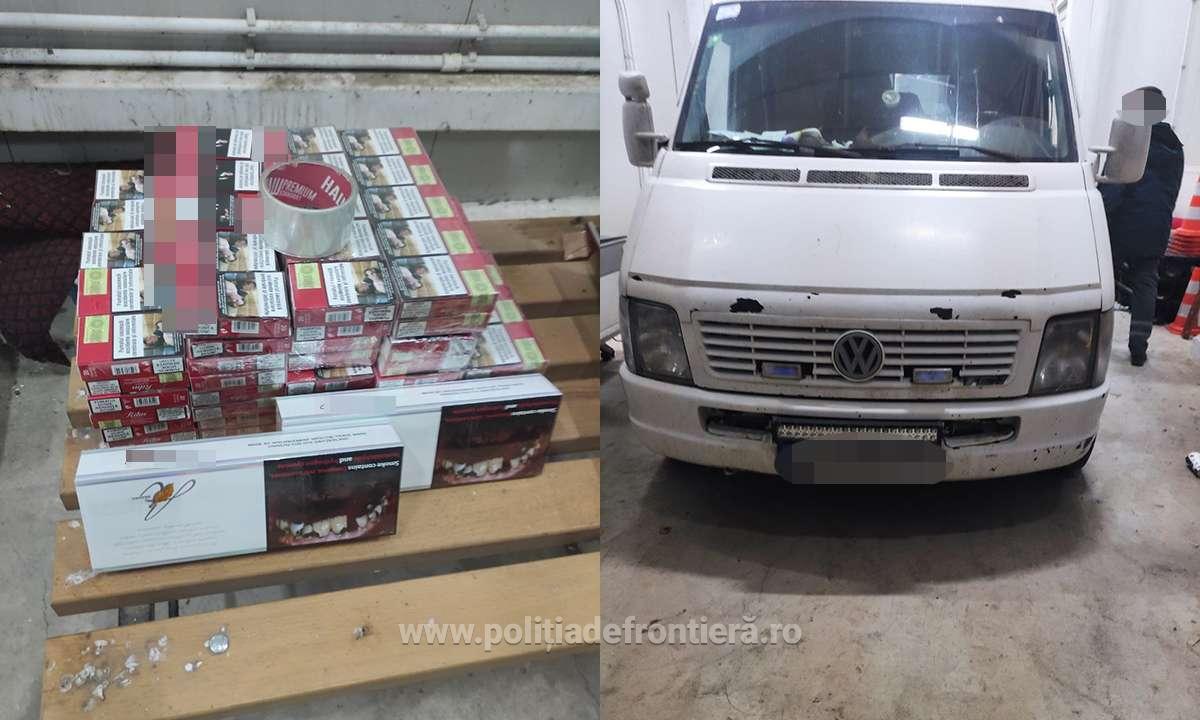FOTO | Ţigări de contrabandă depistate în stâlpii unui microbuz la intrarea în ţară